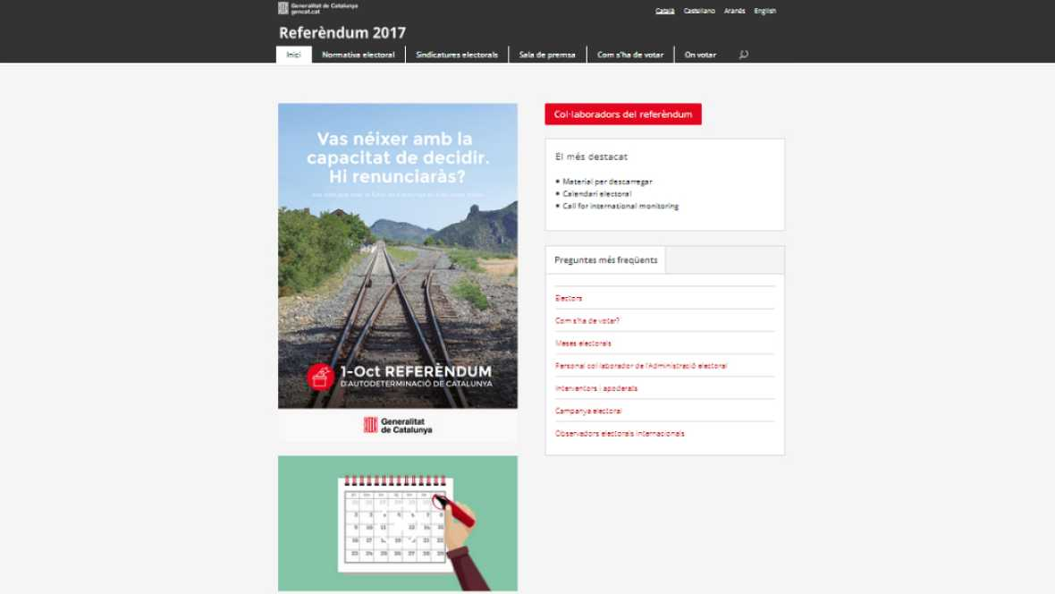 24 horas - Puigdemont anuncia la página web en la que se puede consultar dónde votar el 1-O - Escuchar ahora