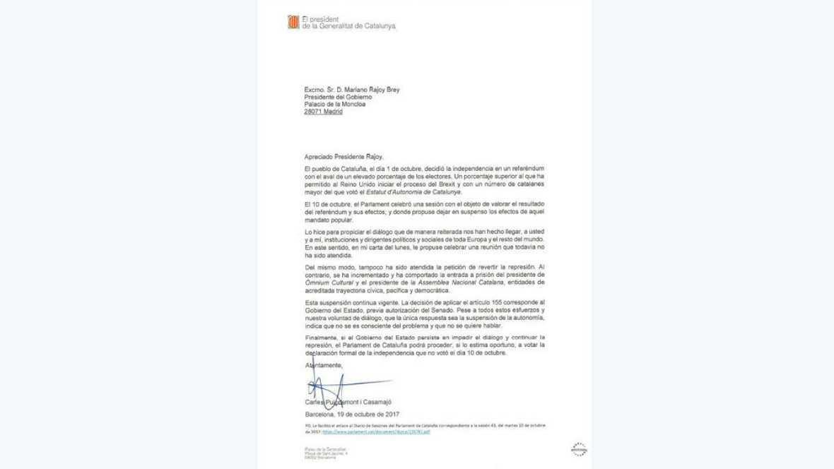 """Boletines RNE - Puigdemont responde: """"Si el Gobierno impide el diálogo el Parlament podrá votar la independencia"""" - 19/10/17 - Escuchar ahora"""