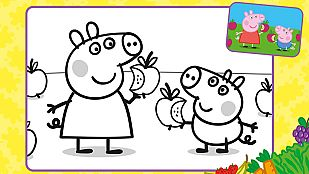 Descargable Colorea a Peppa y George comiendo fruta fresca