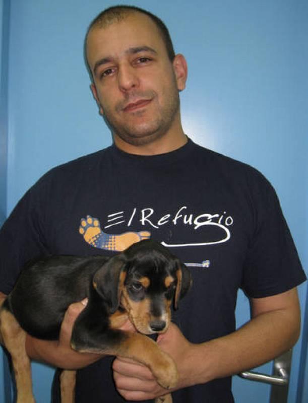 Un voluntario de El Refugio sostiene en brazos a un cachorro en adopción.