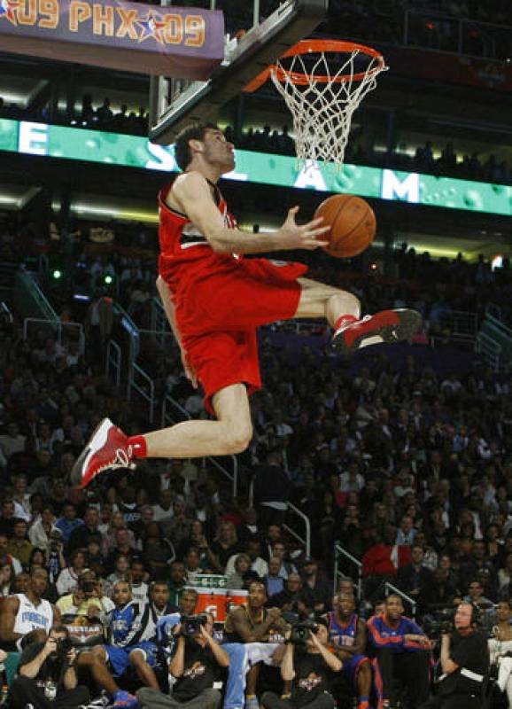 Portland Trail Blazers Rudy Fernandez of Spain competes in the Slam Dunk contest at NBA All-Star weekend in Phoenix, Arizona