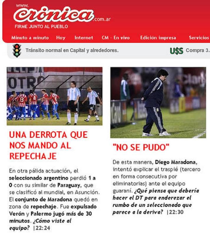 El diario crónica no es ajeno a la derrota de Argentina ante Paraguay tras una pálida actuación del equipo que dirige Maradona.