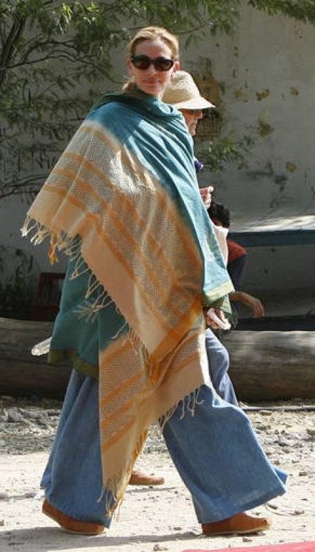 Julia Roberts en el rodaje de 'Come reza ama', en la India, en septiembre de 2009