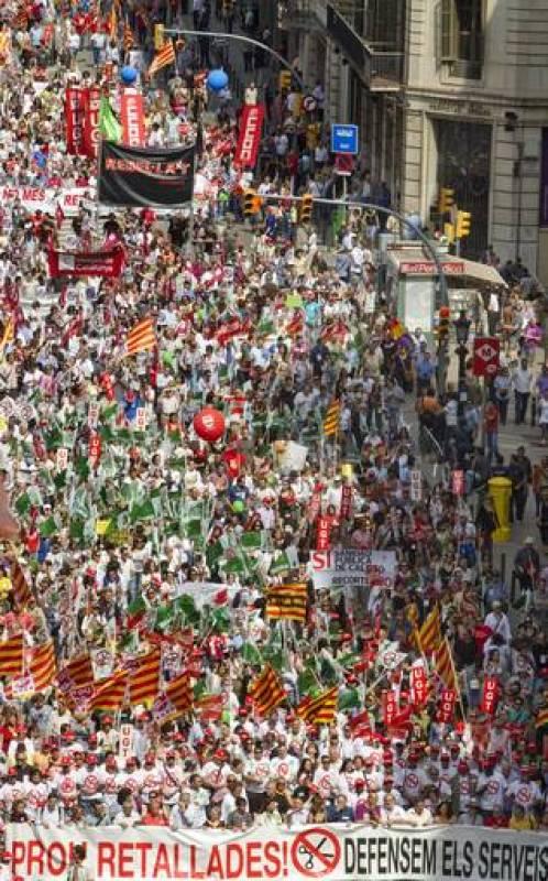 Aspecto de la manifestación, en la que se han concentrado más de 30.000 personas