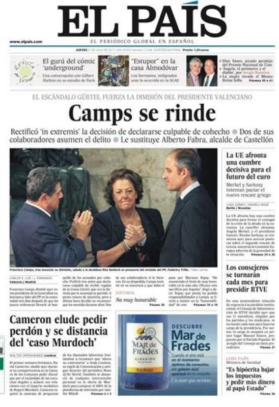 """El País: """"Camps se rinde"""""""