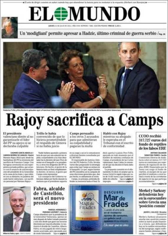 """EL MUNDO: """"Rajoy sacrifica a Camps"""""""