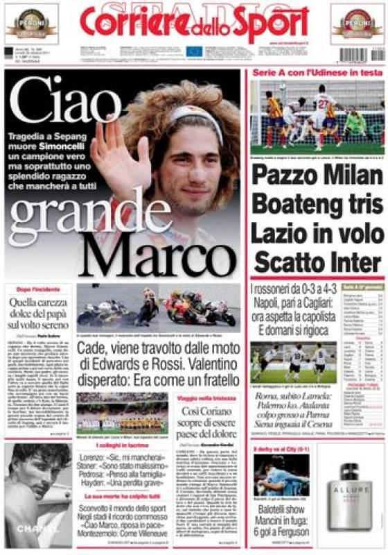 """El 'Corriere dello Sport' titula """"Adiós gran Marco""""."""