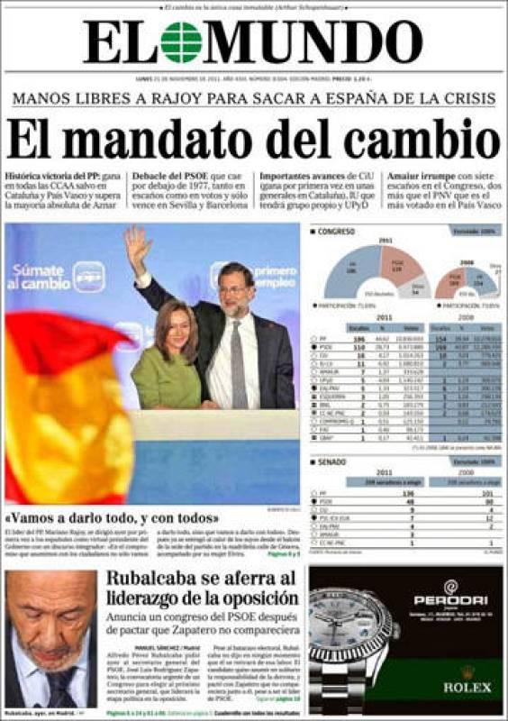 La portada de El Mundo del restultado electoral