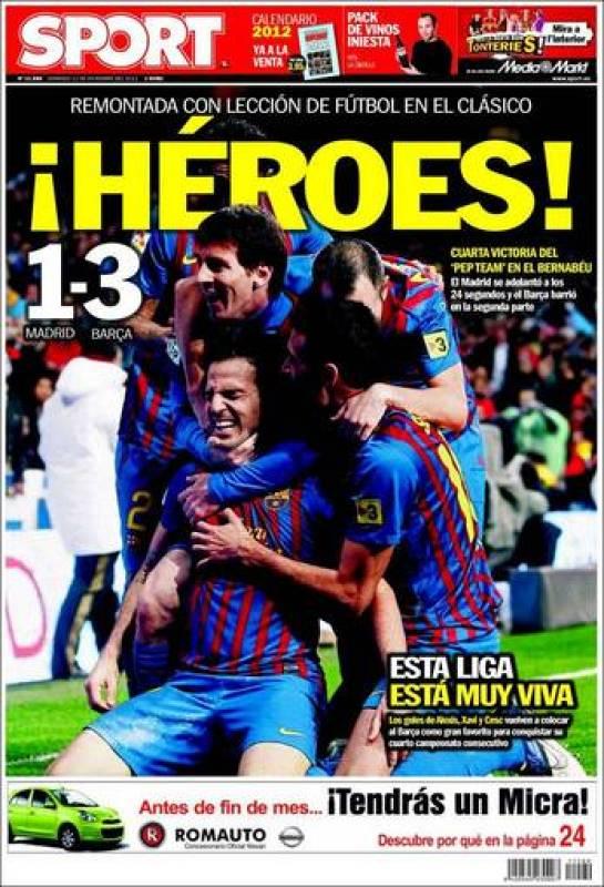 El diario catalán Sport incide en la heroicidad de la victoria en el Santiago Bernabéu.