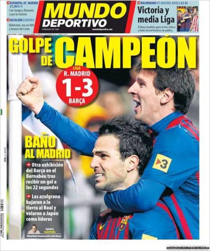 """""""Baño al Madrid"""", se puede leer en el Mundo Deportivo."""
