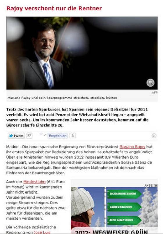 """""""Rajoy salva solo a los jubilados"""". Así de contundente se muestra el diario alemán 'Der Spiegel'"""
