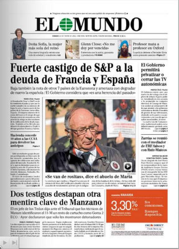 Fuerte castigo de S&P a la deuda de Francia y España
