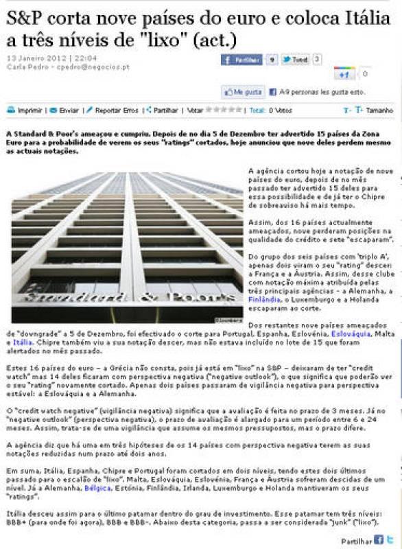 """S&P degrada a nueve países del euro y coloca a Italia a tres niveles (del bono) """"basura"""""""