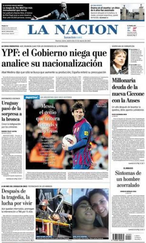 """""""Messi, el genio que tritura récords y adjetivos"""", dice La Nación, diario de información general argentino."""