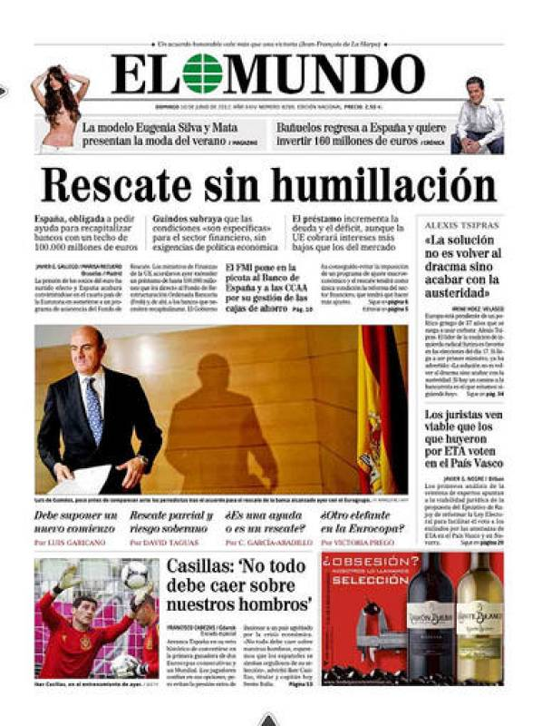 El rescate a la banca española en la portada de 'El Mundo'