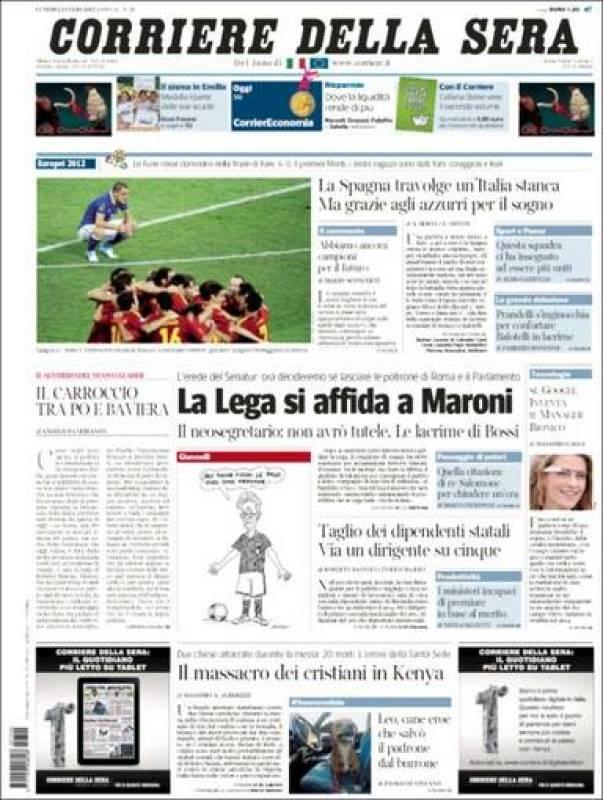 """""""España abruma a una Italia cansada pero gracias, jugadores italianos, por el sueño"""", titula en su portada el diario italiano de información general 'Corriere della Sera'."""