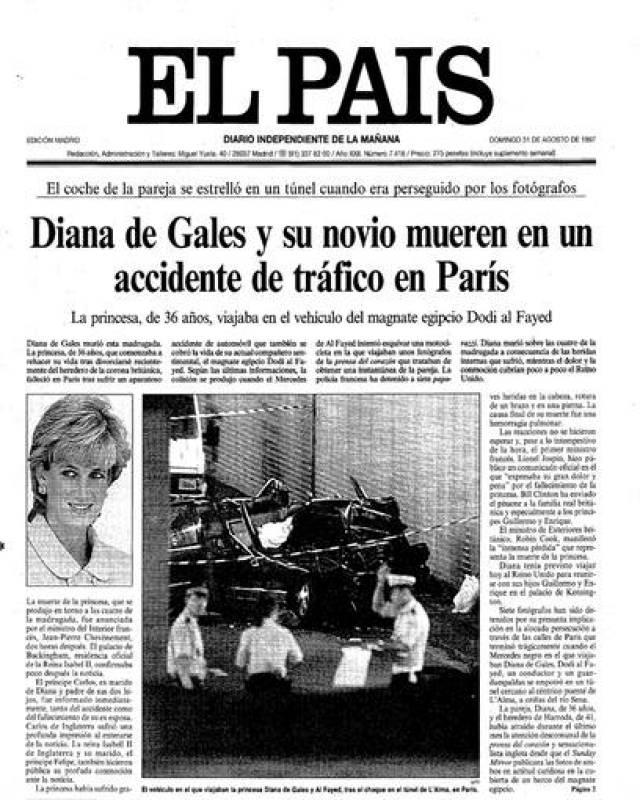 Portada de 'El País' del día 31 de agosto de 1997
