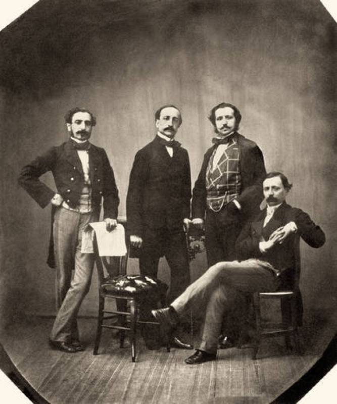 Miembros de la redacción de ¿La Iberia¿. De izquierda a derecha: Pedro Calvo Asensio, Francisco Montemar, Ángel Fernández de los Ríos y Práxedes M. Sagasta