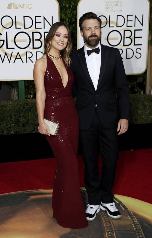 Olivia Wilde and Jason Sudeikis arrive at the 73rd Golden Globe Awards in Beverly Hills