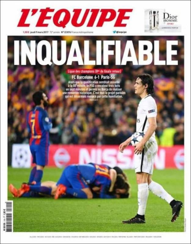 """El diario deportivo francés L'Equipe no da crédito a la eliminación del PSG tras el 4-0 logrado en París y titula """"Incualifiable"""", inclasificable, en un juego de palabras con la eliminación del PSG."""