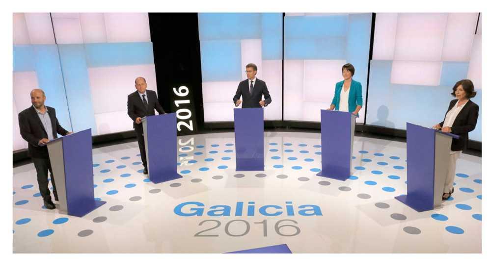 Los candidatos de En Marea, PSdG, PP, BNG y C's, en el debate organizado por la radiotelevisión pública gallega.