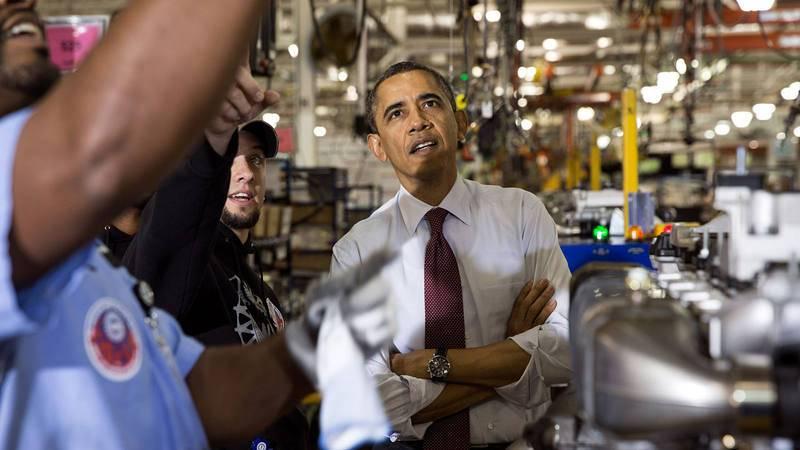 Barack Obama, en una visita a las instalaciones de Daimler en Detroit en 2012