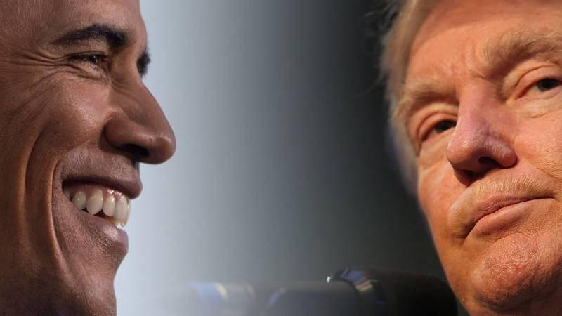 Barack Obama y Donald Trump fotografiados en campaña