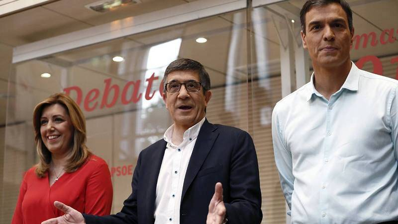 Los tres candidatos a la Secretaría General del PSOE.
