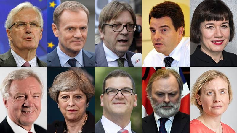 Equipos negociadores del 'Brexit' por la UE (arriba) y por Reino Unido (abajo)