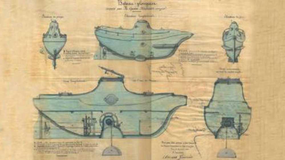 Planos del submarino de Cosme García
