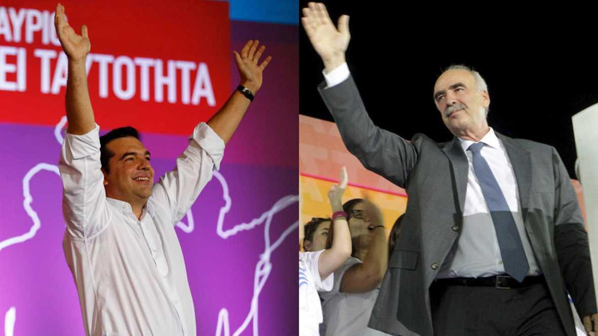 Los líderes de Syriza, Alexis Tsipras, y Nueva Democracia, Evangelos Meimarakis, en sendos mítines.