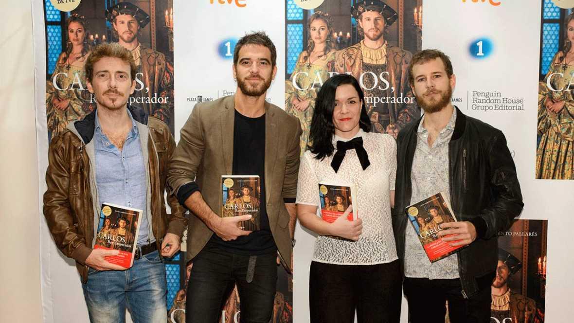 Víctor Clavijo, Alfonso Bassave, Laura Sarmiento y Álvaro Cervantes en la presentación de la novela 'Carlos, Rey Emperador'