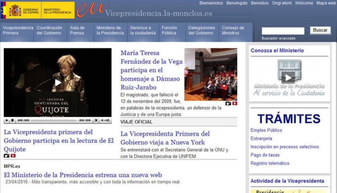 El ministerio de la presidencia estrena web con for Pagina web ministerio interior