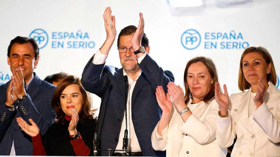 El PP celebra la victoría en las elecciones generales del 20D en su sede