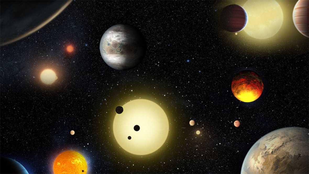 Representación artística de exoplanetas descubiertos por el telescopio Kepler.