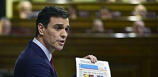 """Sánchez a Rajoy: """"Usted pasará a la historia por precariedad, impuestos y Bárcenas"""""""
