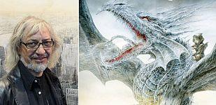 Luis Royo y fragmento de la portada de 'El Dragón de hielo'