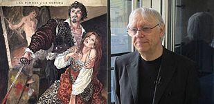 Milo Manara y un fragmento de la portada de 'Caravaggio 1: El pincel y la espada'