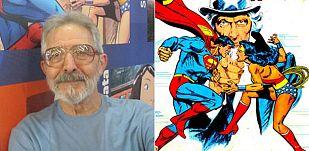José Luis García López y unnfragmento de su famosa portada con Superman, Wonder Woman y el Tío Sam