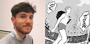 Jérémy Moreau y un fragmento de una de sus viñetas de Max Winston
