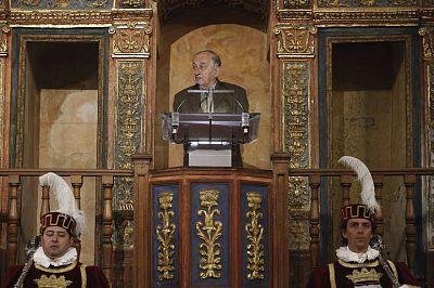 El escritor Juan Goytisolo, durante su discurso tras recibir el Premio Cervantes.