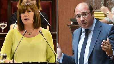 Francina Armengol (i), presidenta de Baleares, y Pedro Antonio Sánchez, presidente de Murcia.