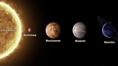 El sistema planetario µ (Mu) Arae: Cervantes y los cuatro planetas Quijote, Rocinante, Sancho y Dulcinea.