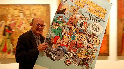 Francisco Ibáñez con el cartel del 34 Salón del Cómic de Barcelona