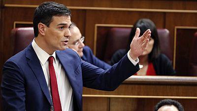 El candidato socialista a la investidura como presidente del Gobierno, Pedro Sánchez.