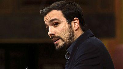 El portavoz de IU, Alberto Garzón, durante su intervención en el Congreso de los Diputados