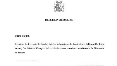 La carta de despido de Salvador Martí