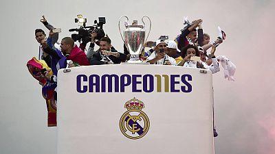 Los jugadores del Real Madrid celebran la undécima Champions merengue.