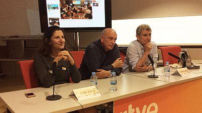 """J.M.Pérez Tornero, Laura Cervi y Miguel Angel Martín en la jornada final de """"Mobile journalism """""""