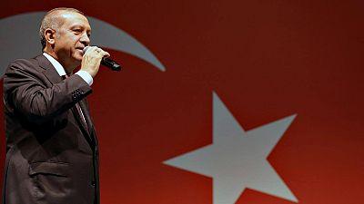 El presidente turco, Recep Tayyip Erdogan, en una alocución pública en Estambul tras el golpe militar